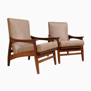 Mid-Century Teak and Leather Armchairs, 1960s, Set of 2