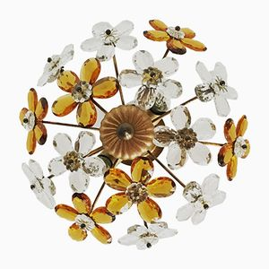 Italian Ceiling Lamp with Crystal Flowers by Christoph Palme, 1950s