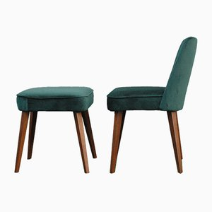 Vintage Green Velvet Chair and Footstool