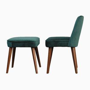 Vintage Stuhl mit grünem Samtbezug & Fußhocker