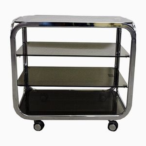 Mid-Century Glass and Chrome Serving Trolley