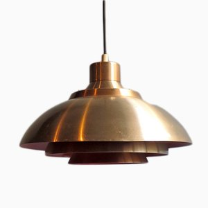 Vintage Danish Gold and Orange Pendant Lamp