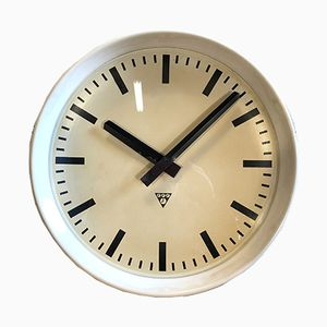Large White Industrial Bakelite Factory Wall Clock from Pragotron, 1960s