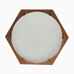 Vintage Hexagonal Wall Mirror from ISA Bergamo, 1960s