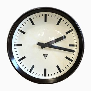 Large Industrial Bakelite Factory Wall Clock from Pragotron, 1960s