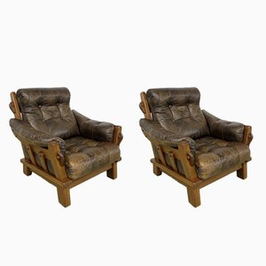 Dutch Brutalist Leather Lounge Chairs, 1960s, Set of 2