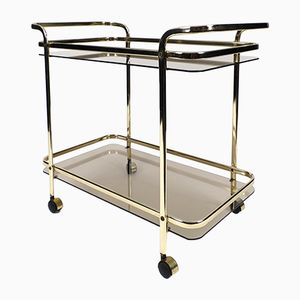 Gilt Metal and Smoked Glass Serving Trolley, 1970s