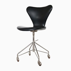 Black Vinyl 3117 Office Chair by Arne Jacobsen for Fritz Hansen, 1960s