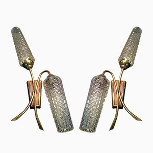 Vintage Art Deco Brass & Glass Wall Sconces, 1950s, Set of 2