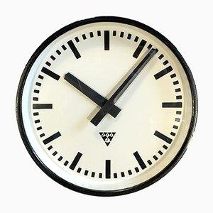 Schwarze Industrielle Uhr von Pragotron, 1960er