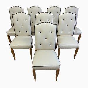 Französische Durmast Art Deco Esszimmerstühle, 1930er, 8er Set