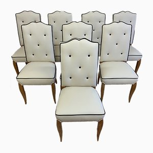 French Durmast Art Deco Dining Chairs, 1930s, Set of 8