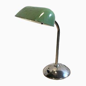 Grüne emaillierte Vintage Banklampe, 1930er