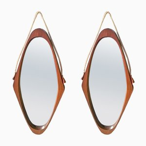 Danish Teak Mirrors, 1950s, Set of 2