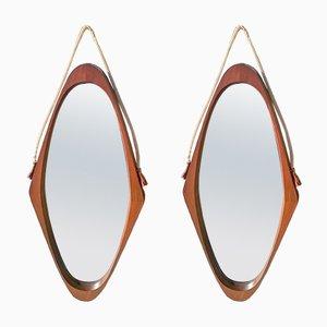 Specchi in teak, Danimarca, anni '50, set di 2