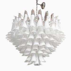 Lámpara de araña Sputnik de cristal de Murano blanco de Italian light design