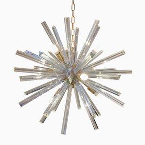 Lámpara de araña Sputnik de vidrio y latón cepillado de Italian light design