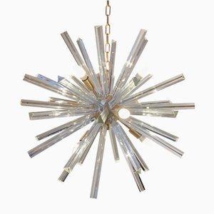 Murano Glass & Brushed Brass Sputnik Chandelier from Italian light design