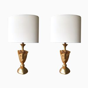 French Gilt Bronze Lamps by Pierre Casenove for Fondica, 1980s, Set of 2
