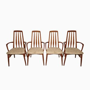 Vintage Eva Teak Chairs by Niels Koefoed for Koefoeds Hornslet, 1960s, Set of 4