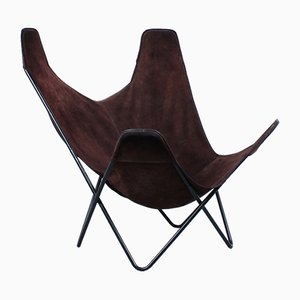 Suede Hammock Sling Lounge Chair by Jorge Ferrari-Hardoy for Knoll, 1950s