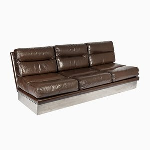 Leather and Stainless Steel Sofa by Jacques Charpentier for Roche Bobois, 1968