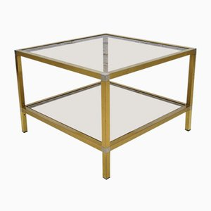 Vintage Italian Brass Side Table, 1970s