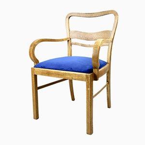 Art Deco Armlehnstuhl aus blauem Samt, 1960er