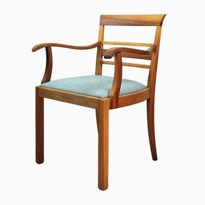 Türkisfarbener Vintage Stuhl aus Nussholz, 1960er