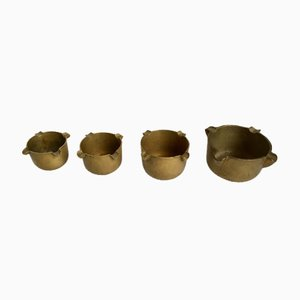 Art Deco German Brass Ashtrays, Set of 4