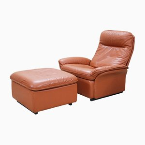 Vintage DS 49 Cognac Leather Lounge Chair & Ottoman from de Sede