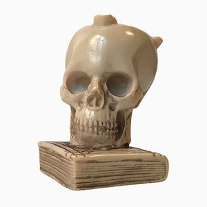 Vintage Italian Cast Ebonite Skull Ashtray, 1960s