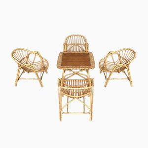 Rattan Coffee Table & 4 Armchairs, 1960s