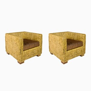 French Straw Armchairs, 1980s, Set of 2