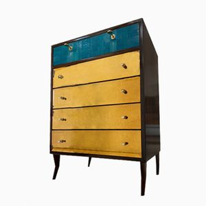 Mid-Century Italian Shagreen and Gold Mirrored Dresser