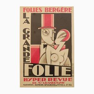 Póster francés vintage con litografía de Maurice Picaud, años 20