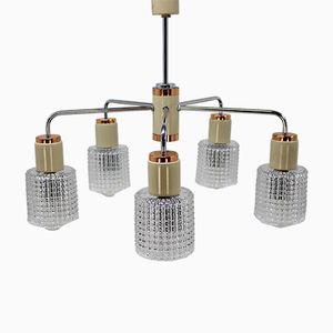 Lámpara de araña vintage de vidrio con cinco luces de Drukov