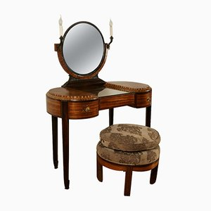 Vintage Art Deco Dressing Table with Stool by Maison Krieger, 1920s