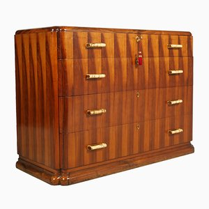 Art Deco Commode in Walnut, Bakelite, and Brass by Gio Ponti for Meroni & Fossati, 1930s