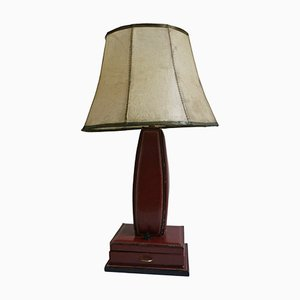 Vintage Table Lamp in Stitched Leather by Jacques Adnet, 1950s