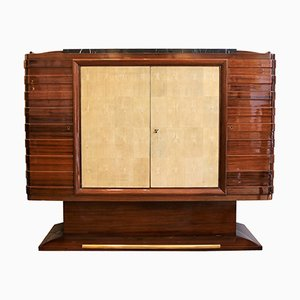 Vintage Sideboard aus Mahagoni & Chagrinleder von Gaston Poisson, 1930er