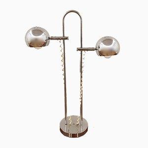 Lámpara doble vintage de metal cromado, años 70