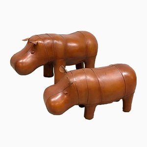 Vintage Leather Hippo Ottoman by Dimitri Omersa for Abercrombie & Fitch, 1980s, Set of 2