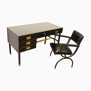 Stitched Leather & Skaï Desk and Armchair by Jacques Adnet, 1950s
