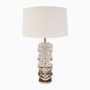 Lámpara grande con columna de plexiglás, años 70