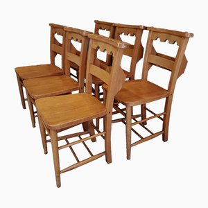 Vintage Beech Castellated-Back Chapel Chairs, Set of 6