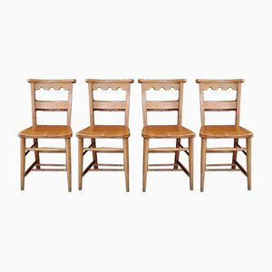 Vintage Beech Castellated Back Chapel Chairs, Set of 4