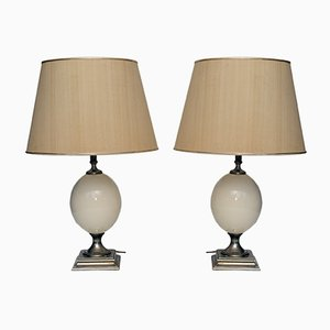 French Egg Table Lamps, 1970s, Set of 2