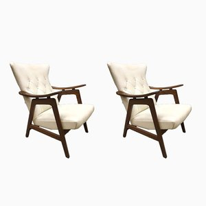 Vintage Wingback Armchairs by Louis Van Teeffelen for WéBé, Set of 2