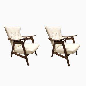 Vintage Wingback Armchairs by Louis Van Teeffelen for WéBé, Set of 2